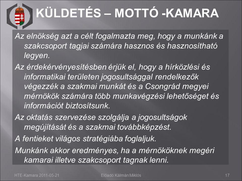KÜLDETÉS – MOTTÓ -KAMARA