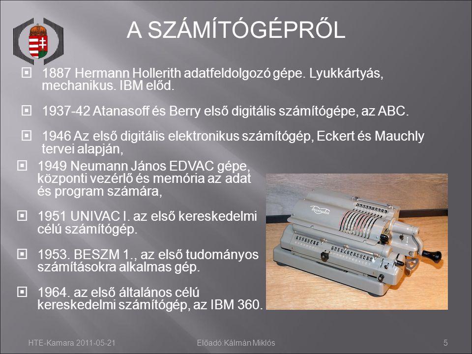 A SZÁMÍTÓGÉPRŐL 10-11-28. 1887 Hermann Hollerith adatfeldolgozó gépe. Lyukkártyás, mechanikus. IBM előd.