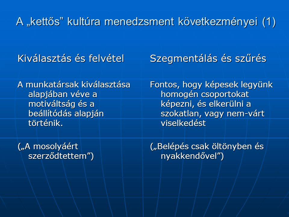 """A """"kettős kultúra menedzsment következményei (1)"""