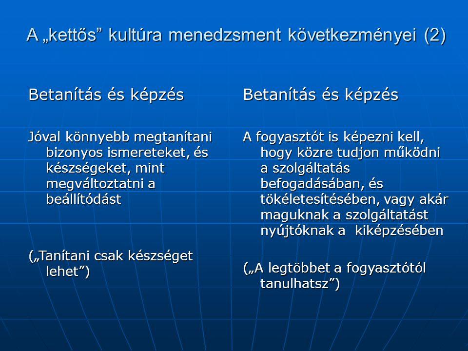 """A """"kettős kultúra menedzsment következményei (2)"""