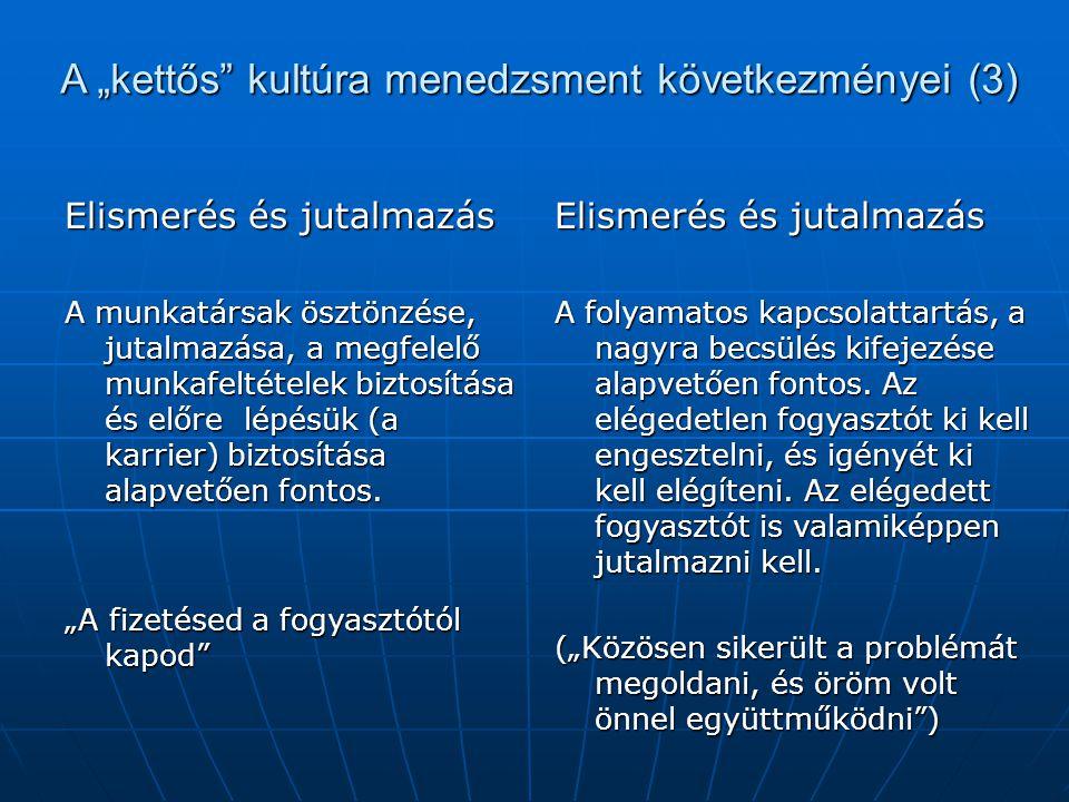 """A """"kettős kultúra menedzsment következményei (3)"""
