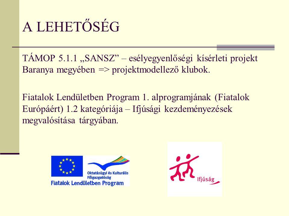 """A lehetőség TÁMOP 5.1.1 """"SANSZ – esélyegyenlőségi kísérleti projekt Baranya megyében => projektmodellező klubok."""