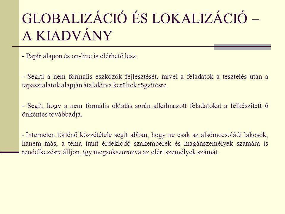 Globalizáció és lokalizáció – a kiadvány