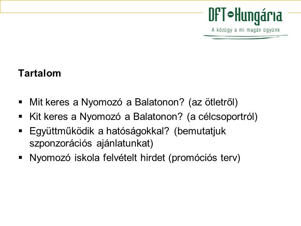 Tartalom Mit keres a Nyomozó a Balatonon (az ötletről) Kit keres a Nyomozó a Balatonon (a célcsoportról)