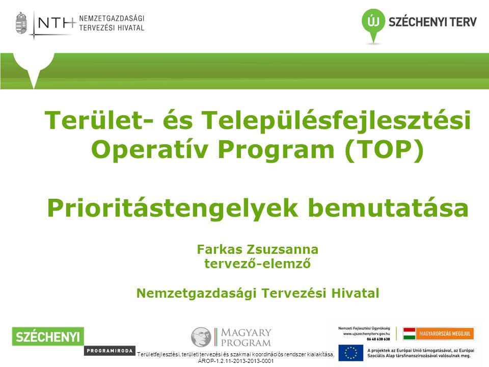 Terület- és Településfejlesztési Operatív Program (TOP) Prioritástengelyek bemutatása Farkas Zsuzsanna tervező-elemző Nemzetgazdasági Tervezési Hivatal