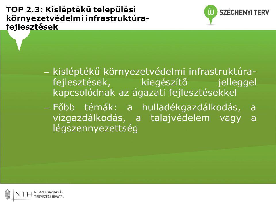 TOP 2.3: Kisléptékű települési környezetvédelmi infrastruktúra- fejlesztések