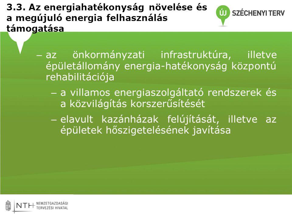 3.3. Az energiahatékonyság növelése és a megújuló energia felhasználás támogatása