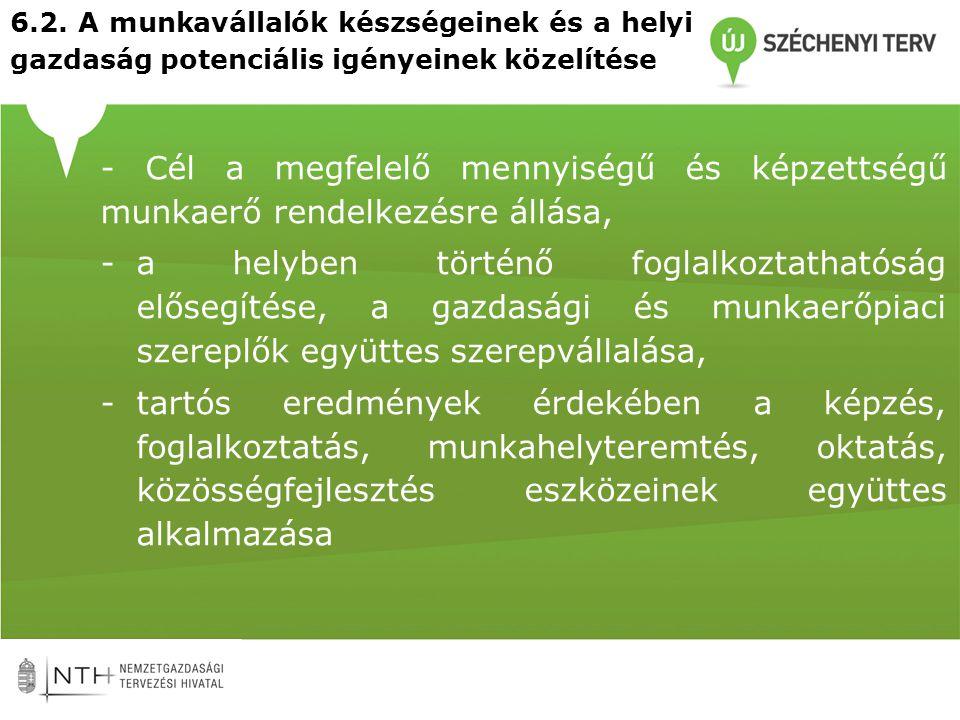 6.2. A munkavállalók készségeinek és a helyi gazdaság potenciális igényeinek közelítése