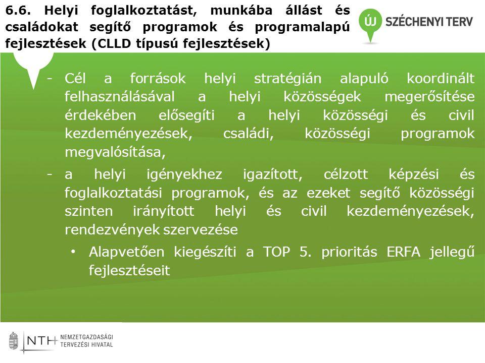 Alapvetően kiegészíti a TOP 5. prioritás ERFA jellegű fejlesztéseit