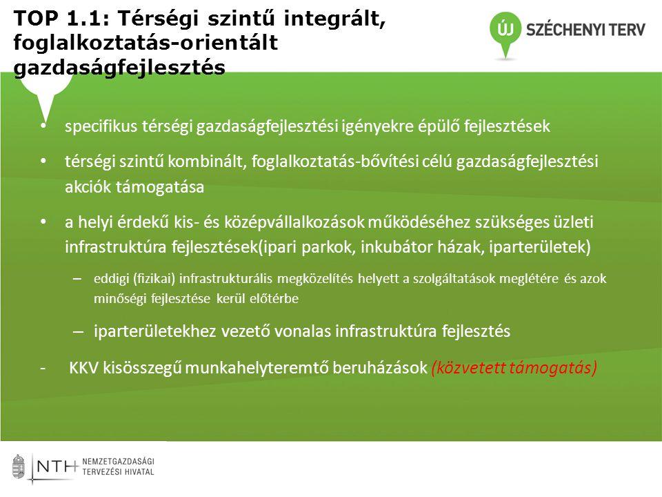 TOP 1.1: Térségi szintű integrált, foglalkoztatás-orientált gazdaságfejlesztés