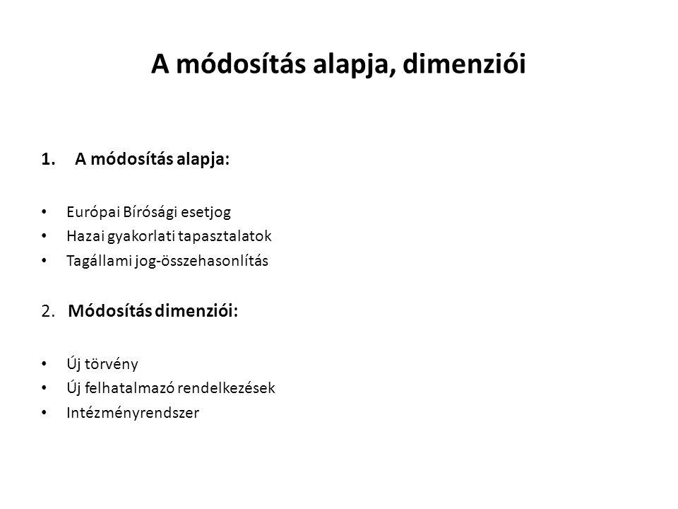 A módosítás alapja, dimenziói
