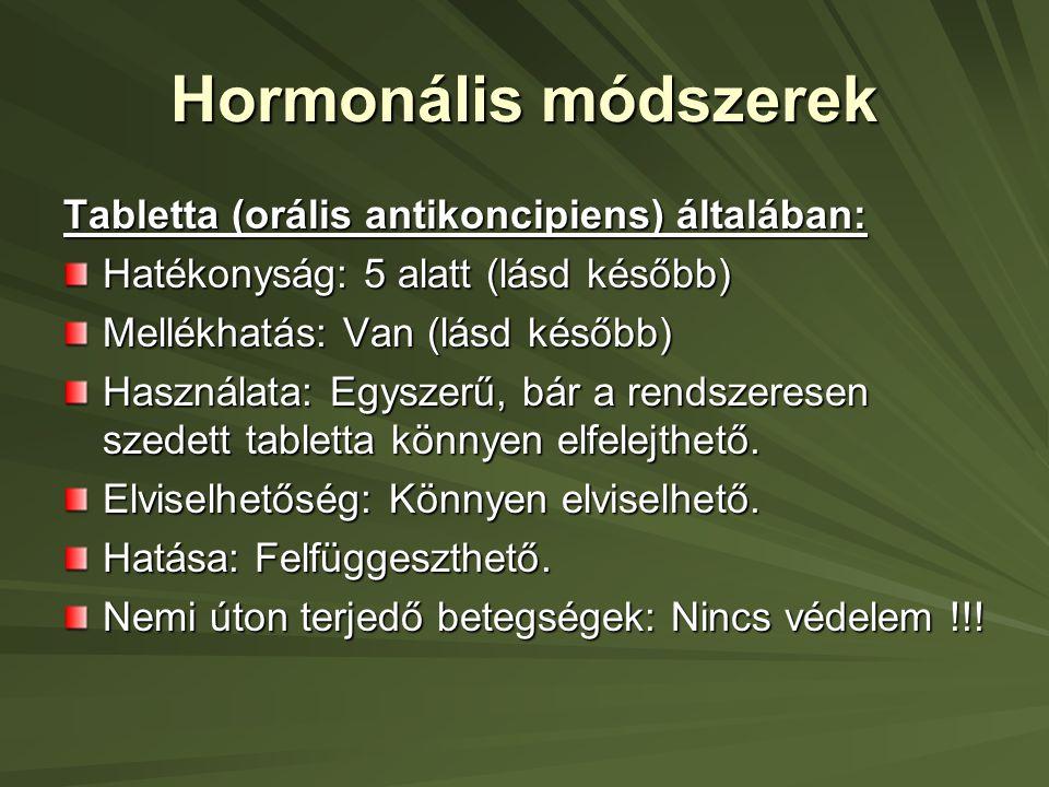 Hormonális módszerek Tabletta (orális antikoncipiens) általában: