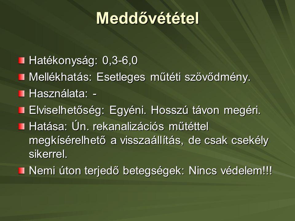 Meddővététel Hatékonyság: 0,3-6,0
