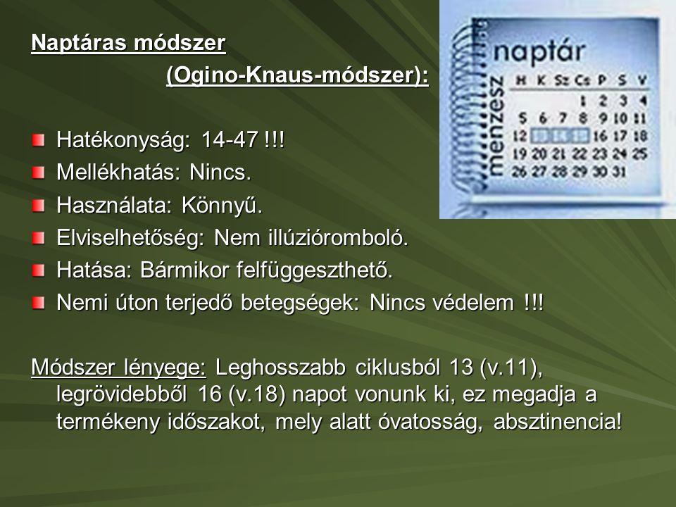Naptáras módszer (Ogino-Knaus-módszer): Hatékonyság: 14-47 !!! Mellékhatás: Nincs. Használata: Könnyű.