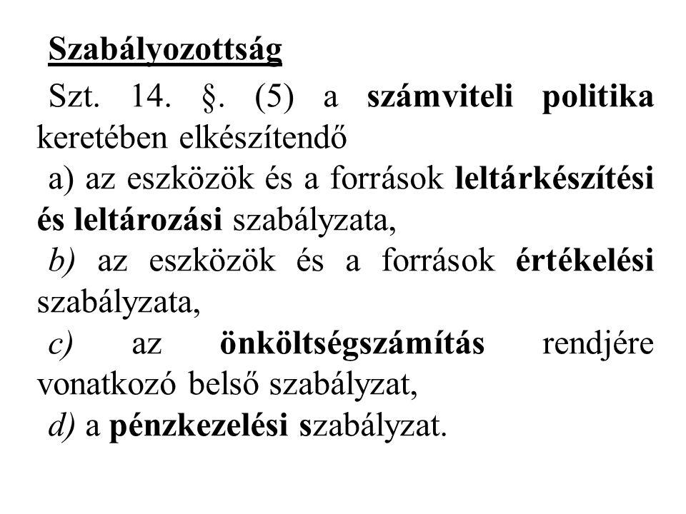 Szabályozottság Szt. 14. §. (5) a számviteli politika keretében elkészítendő.
