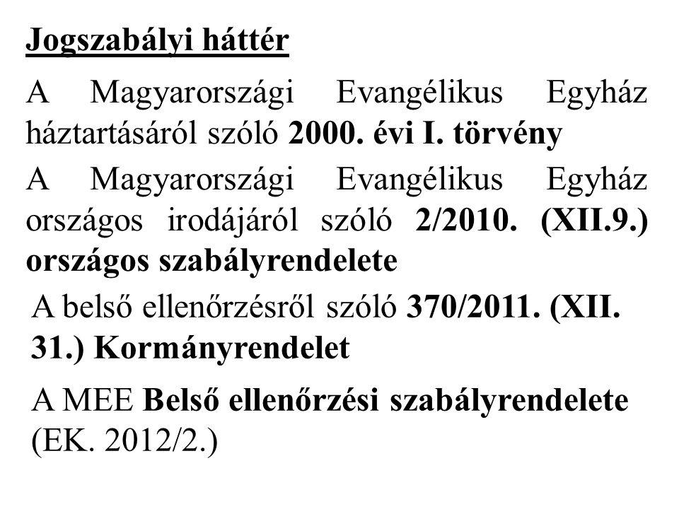 Jogszabályi háttér A Magyarországi Evangélikus Egyház háztartásáról szóló 2000. évi I. törvény.