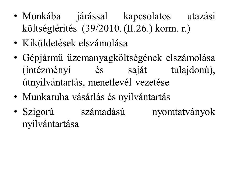 Munkába járással kapcsolatos utazási költségtérítés (39/2010. (II. 26