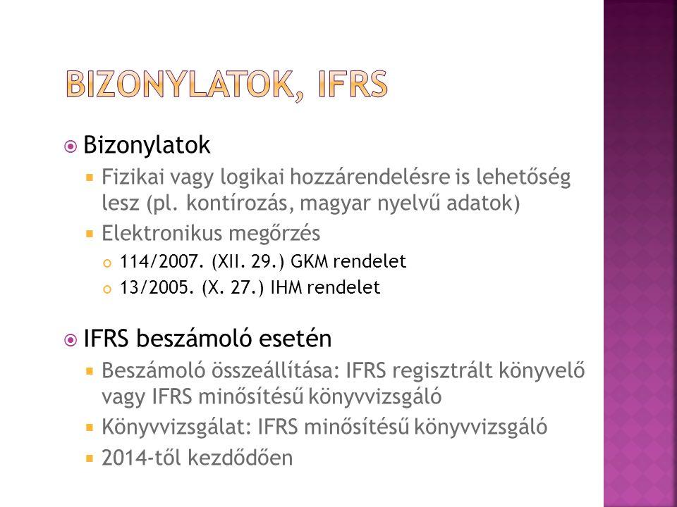 Bizonylatok, IFRS Bizonylatok IFRS beszámoló esetén