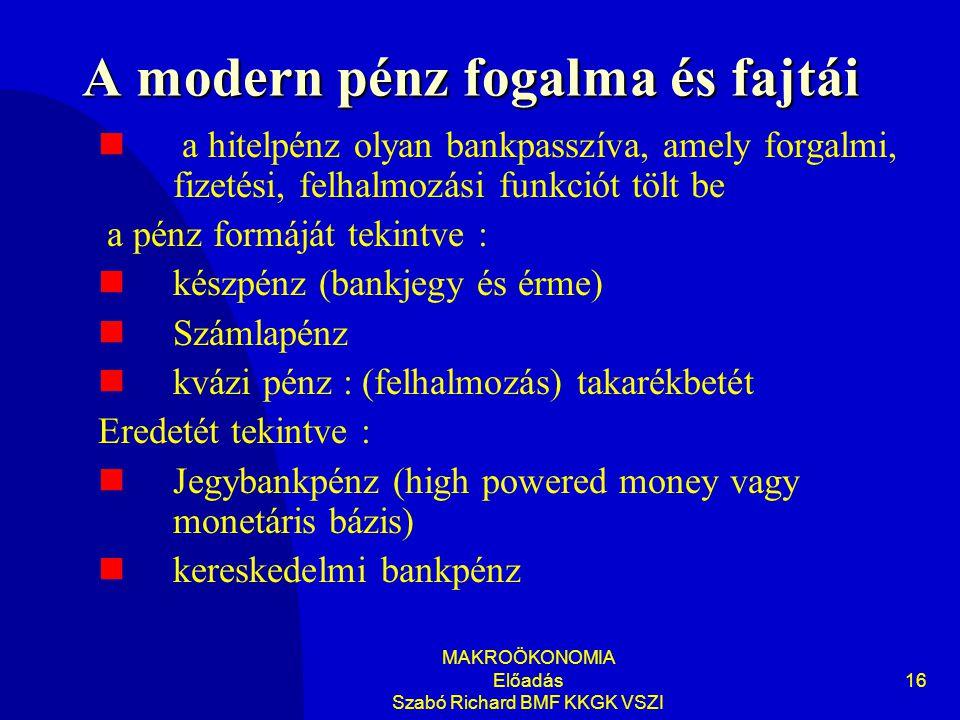 A modern pénz fogalma és fajtái
