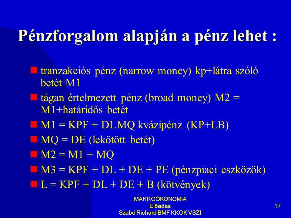 Pénzforgalom alapján a pénz lehet :