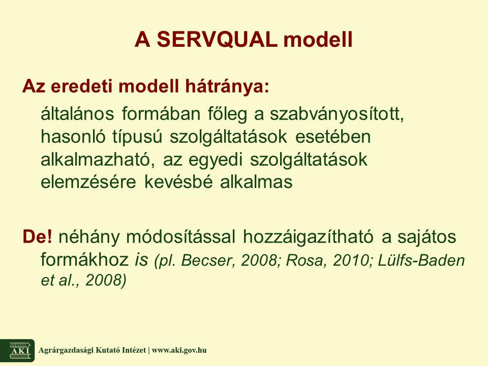 A SERVQUAL modell Az eredeti modell hátránya: