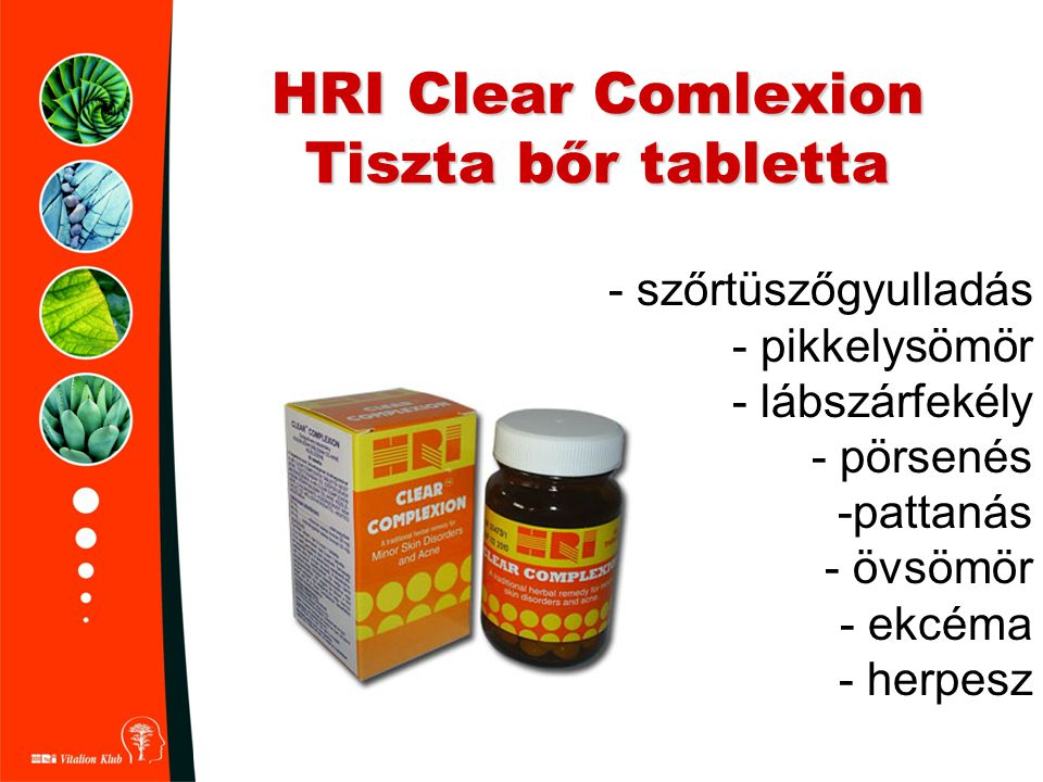 HRI Clear Comlexion Tiszta bőr tabletta