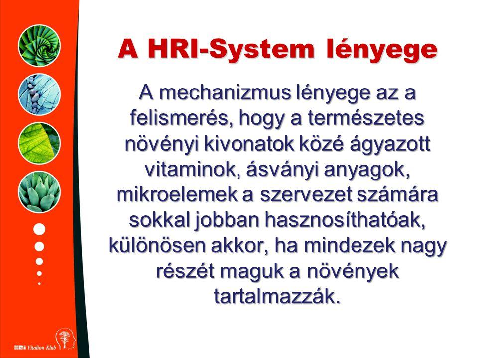 A HRI-System lényege A mechanizmus lényege az a felismerés, hogy a természetes növényi kivonatok közé ágyazott vitaminok, ásványi anyagok, mikroelemek a szervezet számára sokkal jobban hasznosíthatóak, különösen akkor, ha mindezek nagy részét maguk a növények tartalmazzák.