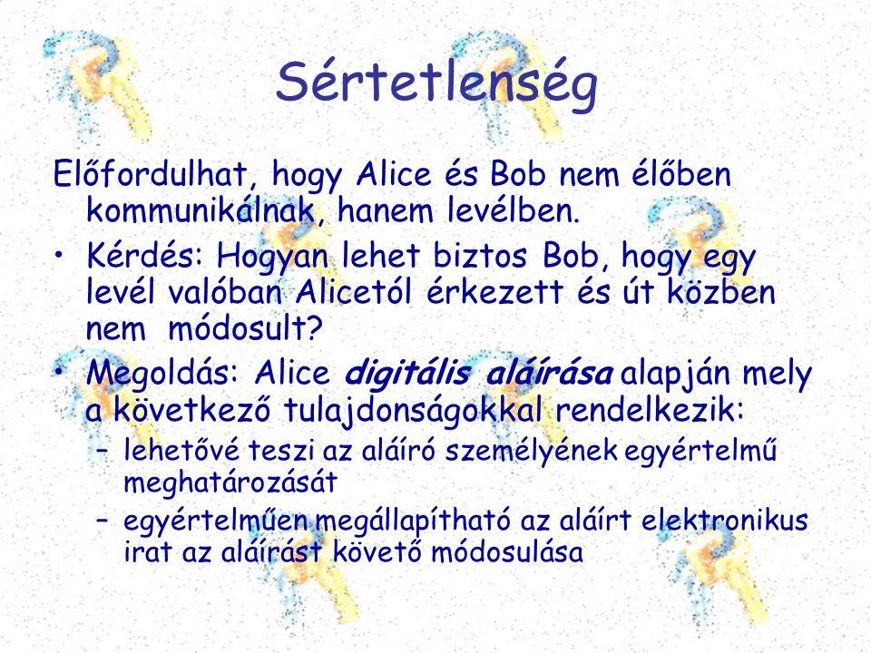 Sértetlenség Előfordulhat, hogy Alice és Bob nem élőben kommunikálnak, hanem levélben.