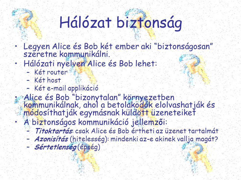 Hálózat biztonság Legyen Alice és Bob két ember aki biztonságosan szeretne kommunikálni. Hálózati nyelven Alice és Bob lehet: