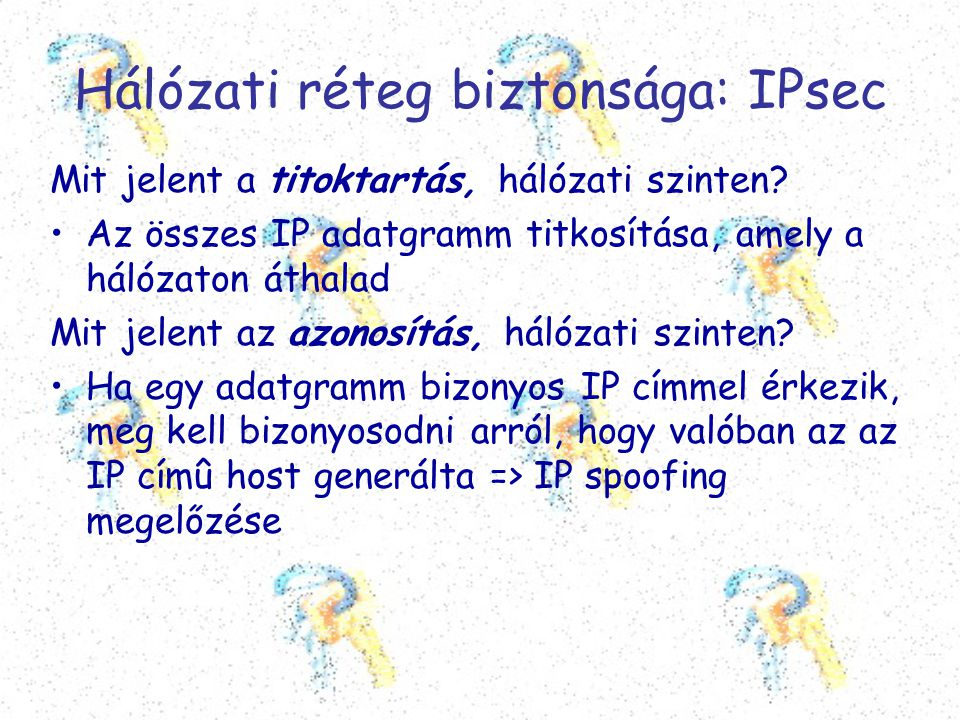 Hálózati réteg biztonsága: IPsec