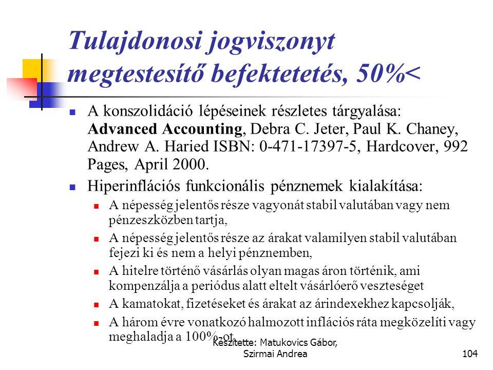 Tulajdonosi jogviszonyt megtestesítő befektetetés, 50%<