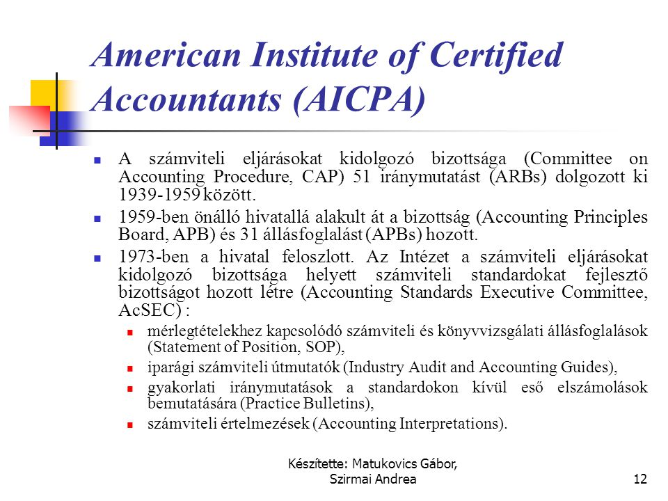 American Institute of Certified Accountants (AICPA)