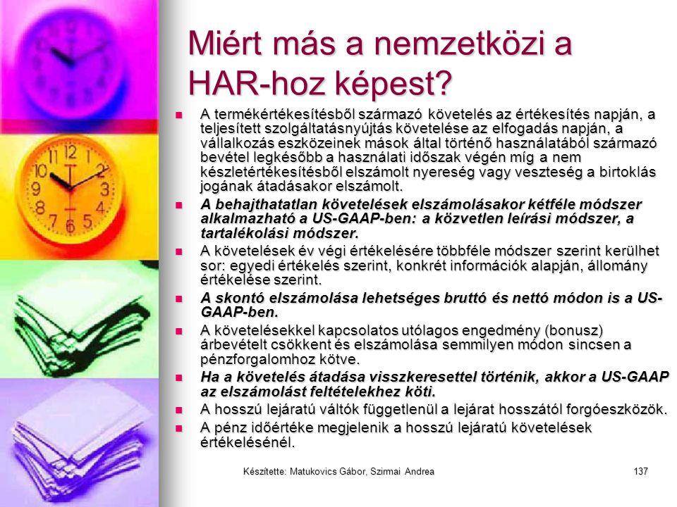 Miért más a nemzetközi a HAR-hoz képest