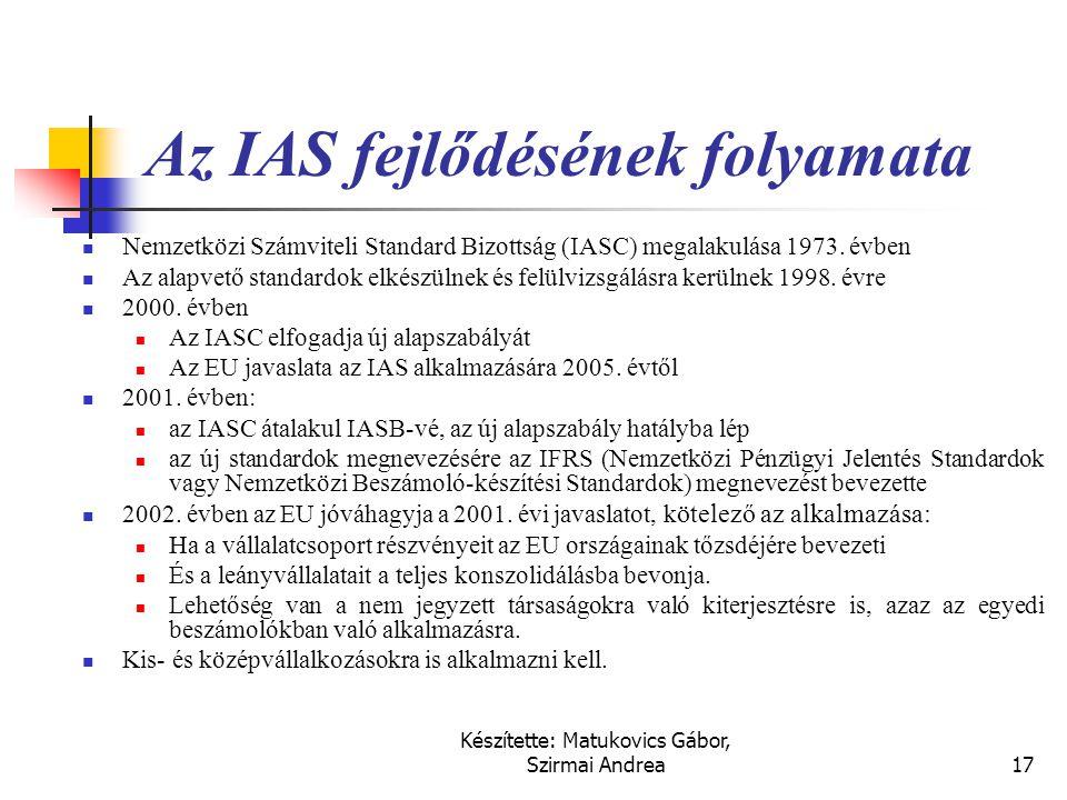 Az IAS fejlődésének folyamata
