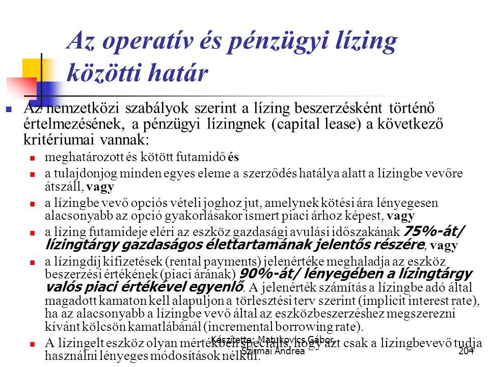 Az operatív és pénzügyi lízing közötti határ