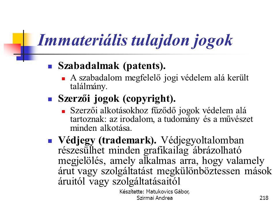 Immateriális tulajdon jogok
