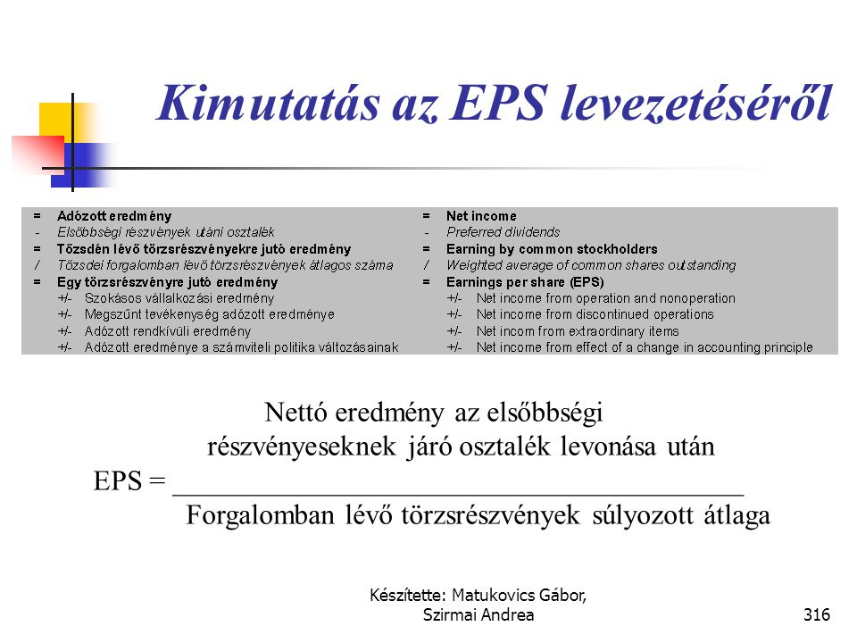 Kimutatás az EPS levezetéséről