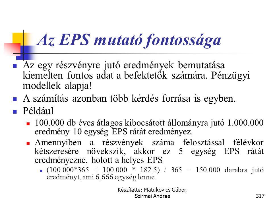 Az EPS mutató fontossága