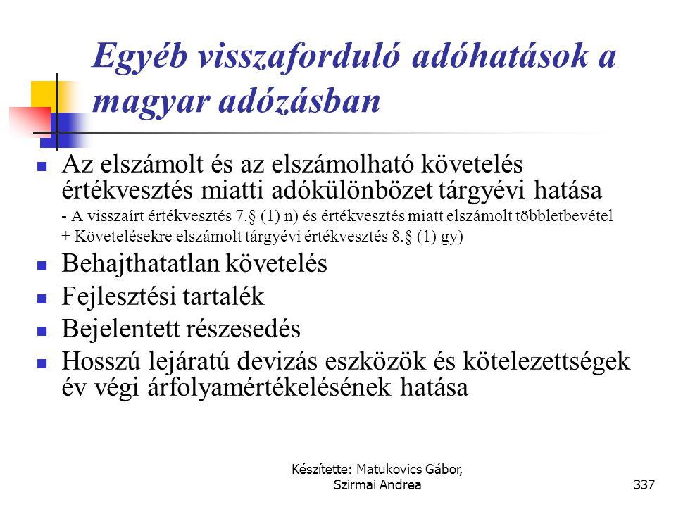 Egyéb visszaforduló adóhatások a magyar adózásban