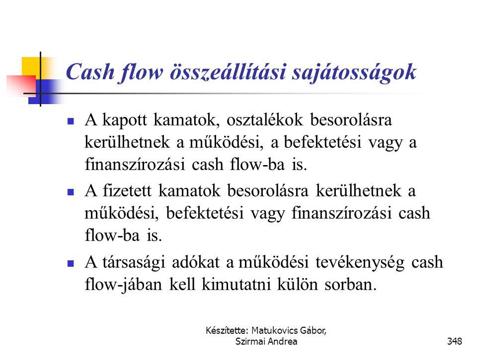 Cash flow összeállítási sajátosságok