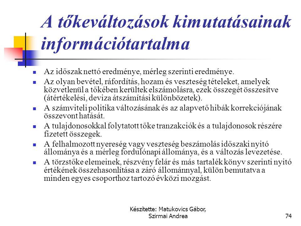 A tőkeváltozások kimutatásainak információtartalma