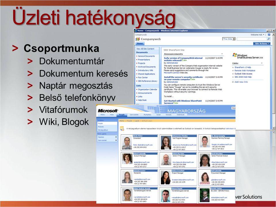 Üzleti hatékonyság Csoportmunka Dokumentumtár Dokumentum keresés
