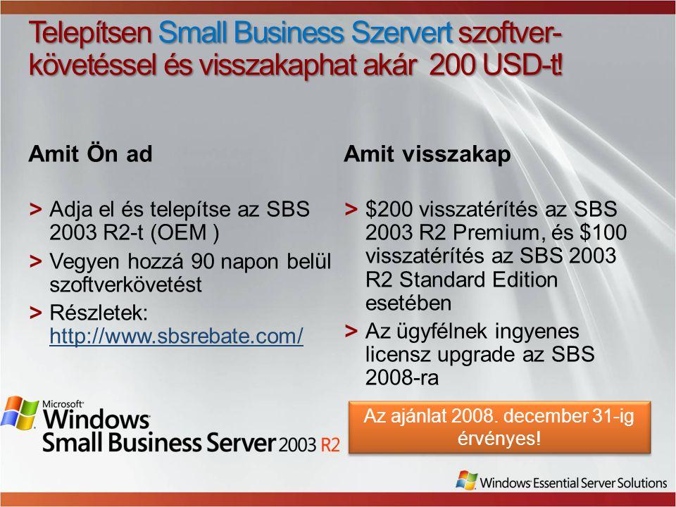 Az ajánlat 2008. december 31-ig érvényes!