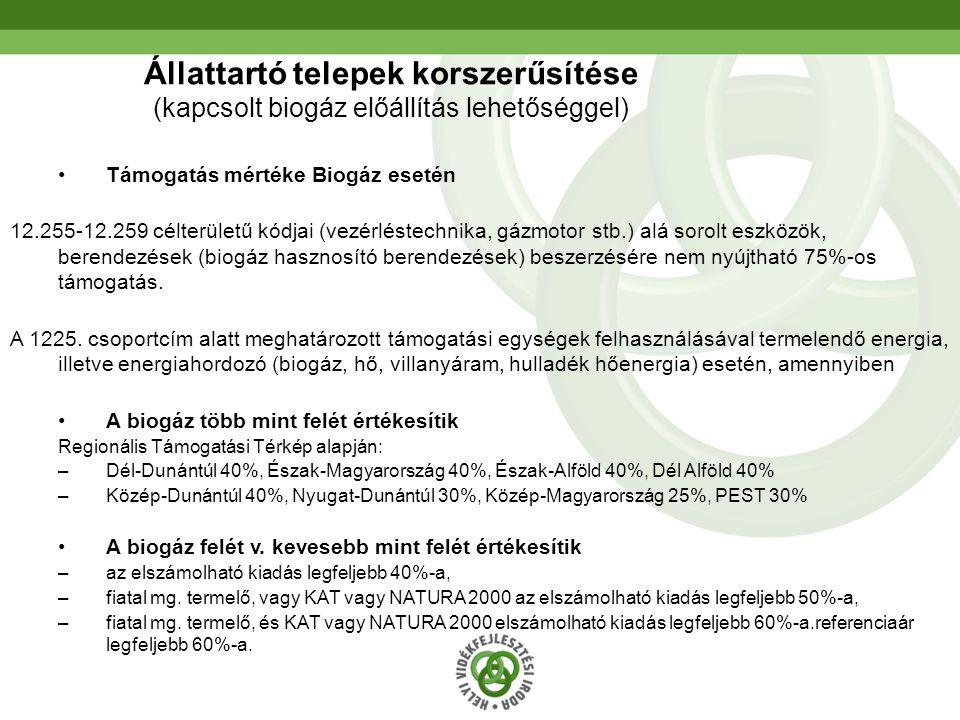 Állattartó telepek korszerűsítése (kapcsolt biogáz előállítás lehetőséggel)