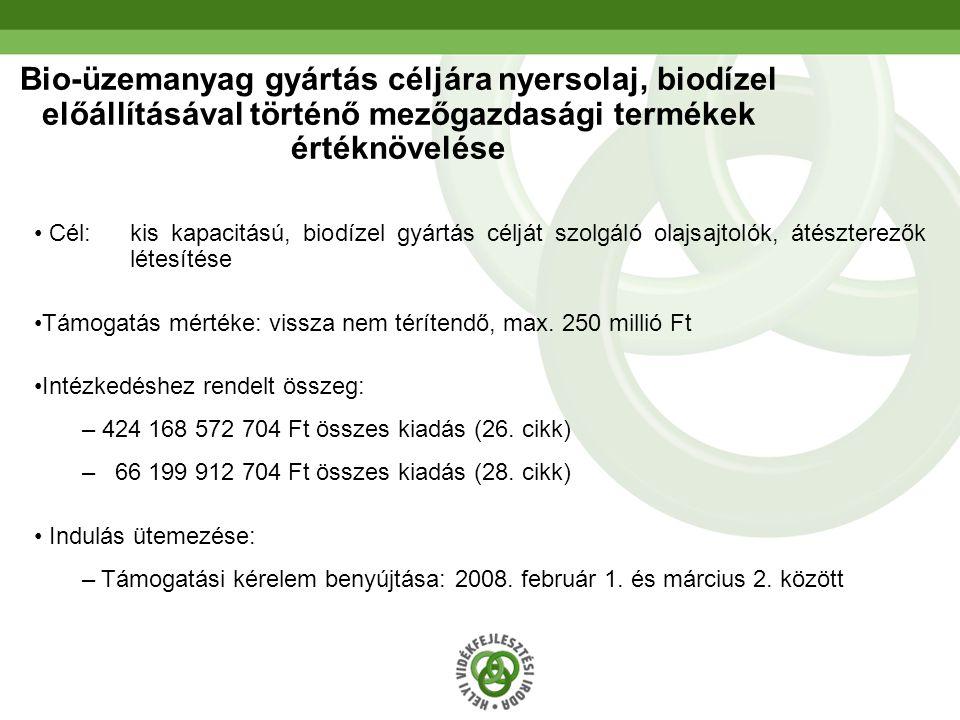 Bio-üzemanyag gyártás céljára nyersolaj, biodízel előállításával történő mezőgazdasági termékek értéknövelése