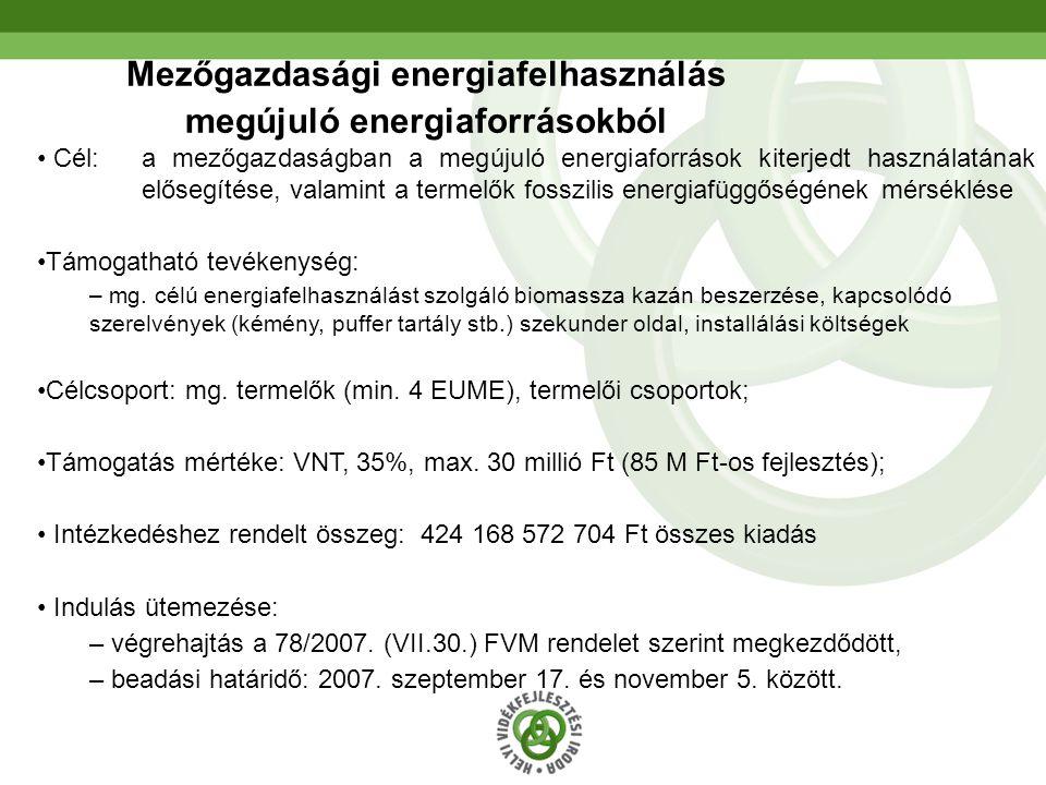 Mezőgazdasági energiafelhasználás megújuló energiaforrásokból