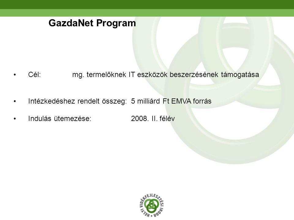 GazdaNet Program Cél: mg. termelőknek IT eszközök beszerzésének támogatása. Intézkedéshez rendelt összeg: 5 milliárd Ft EMVA forrás.