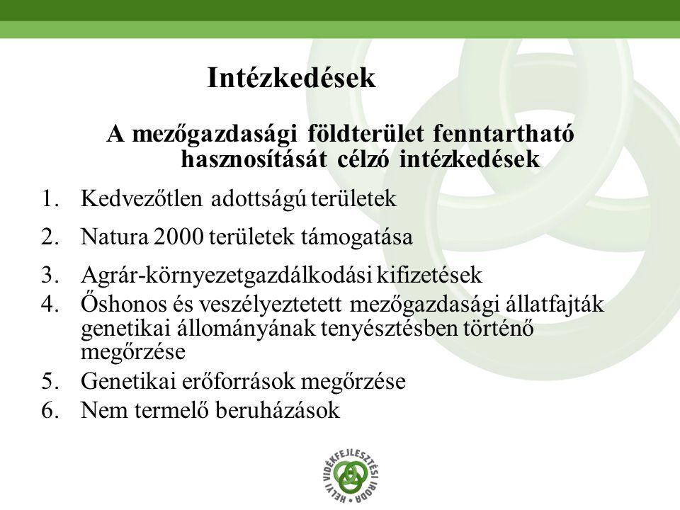 Intézkedések A mezőgazdasági földterület fenntartható hasznosítását célzó intézkedések. Kedvezőtlen adottságú területek.