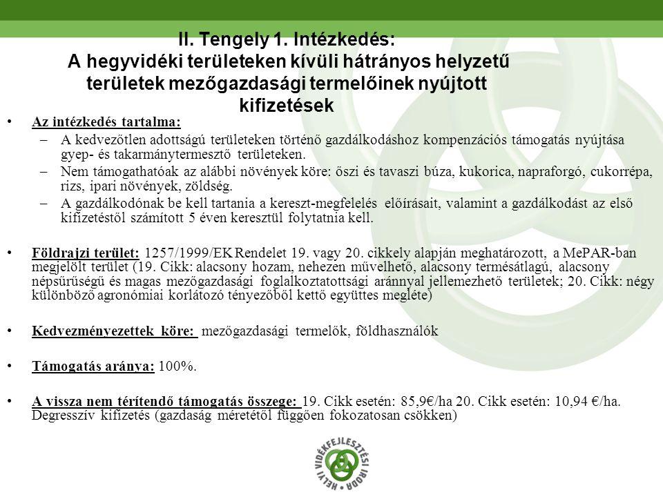 II. Tengely 1. Intézkedés: A hegyvidéki területeken kívüli hátrányos helyzetű területek mezőgazdasági termelőinek nyújtott kifizetések