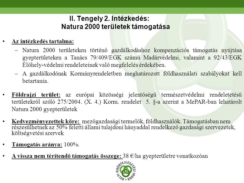 II. Tengely 2. Intézkedés: Natura 2000 területek támogatása